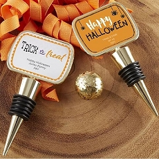 Personalized Gold Bottle Stopper with Epoxy Dome - Halloween
