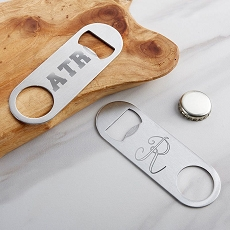 Personalized Silver Oblong Bottle Opener - Engraved-Kate Aspen