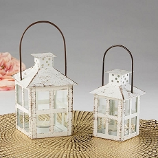 Vintage White Distressed Lantern - Small-Kate Aspen