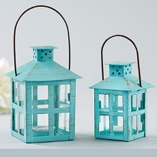 Vintage Blue Distressed Lantern - Medium-Kate Aspen