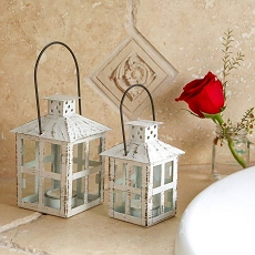 Vintage White Distressed Lantern - Medium-Kate Aspen