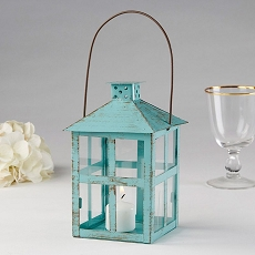 Vintage Blue Distressed Lantern - Large-Kate Aspen