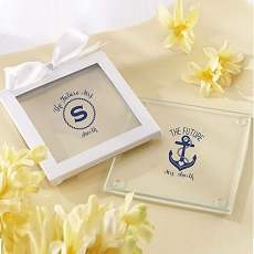 Personalized Glass Coasters - Nautical Bridal  (Set of 12)