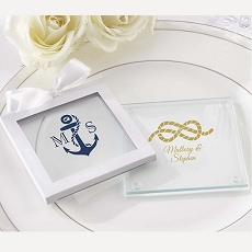 Personalized Glass Coasters- Nautical Wedding (Set of 12)