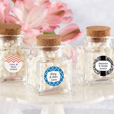Personalized Square Glass Favor Jar w/Cork Stopper (12)