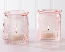Vintage Pink Glass Tea Light Holder (Set of 4)-Kate Aspen