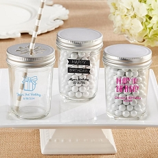 Personalized Printed 8 oz. Glass Mason Jar - Celebrate (Set of 12)