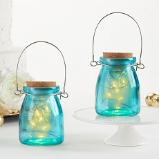 Hanging Blue Jar With Fairy Lights (Set of 4)-Kate Aspen
