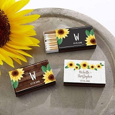 Personalized Black Matchboxes - Sunflower (Set of 50)