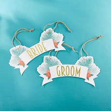 Tropical Chic Bride & Groom Chair Signs