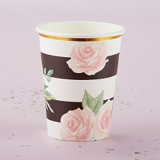 Floral Striped Paper Cups (Set of 8)