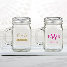 Personalized 12 oz. Mason Jar Mug With Lid - Monogram