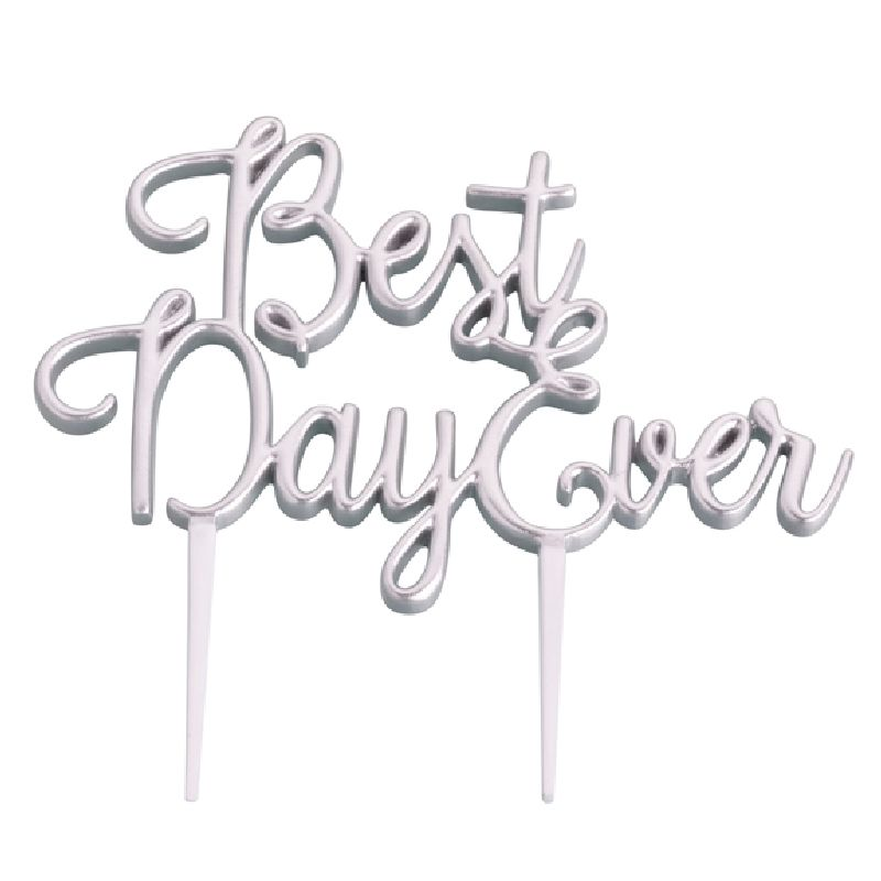 Lillian Rose Silver Best Day Ever Wedding Cake Topper