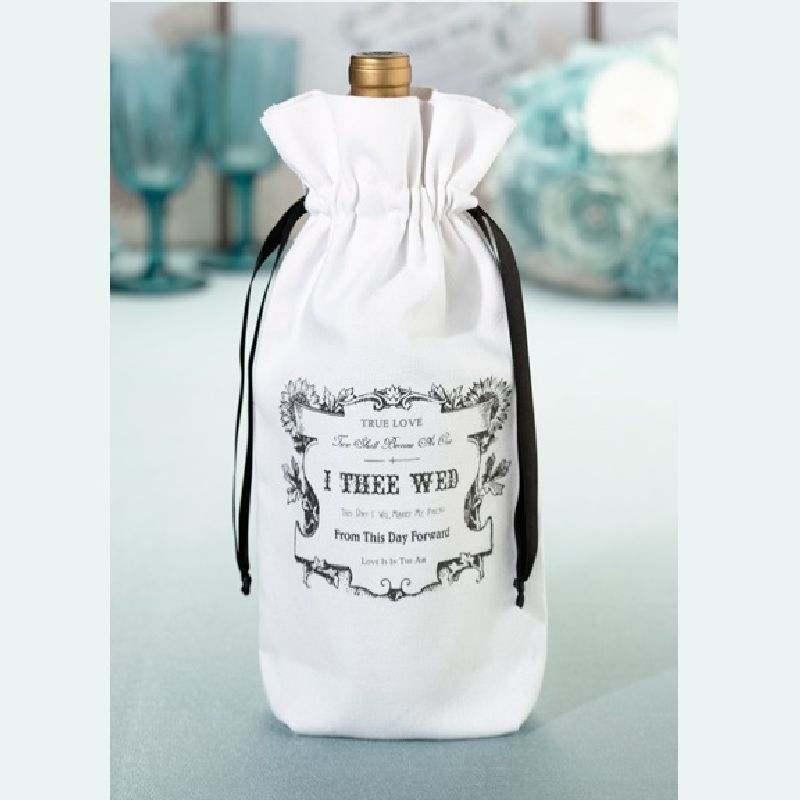 Lillian Rose Black and White I Thee Wed Wine Bag