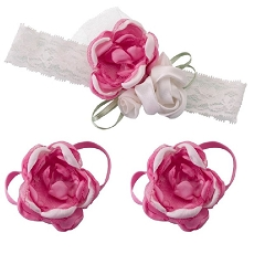 Lillian Rose Hot Pink Baby Headband and Barefoot Sandals