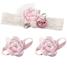 Lillian Rose Light Pink Baby Headband and Barefoot Sandals