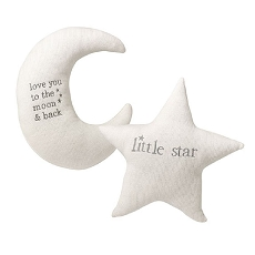 Lillian Rose White Star and Gray Moon Nursery Pillow Set