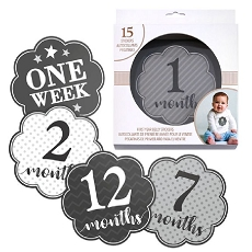 Lillian Rose Black and Grey Baby Belly Stickers (Set of 1-15)