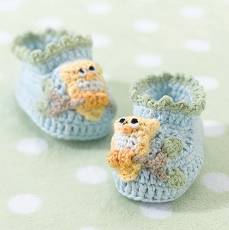 Blue Owl Booties 0-6 Months