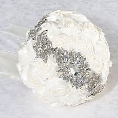 Lillian Rose Crystal Brooch Bouquet with Off White Satin Roses