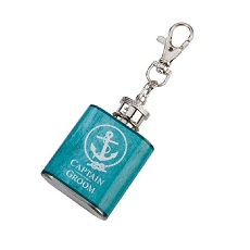 Lillian Rose Captain Groom Aqua Mini Flask