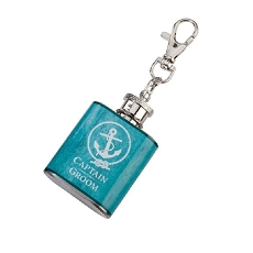 Lillian Rose Groom's Crew Aqua Mini Flask