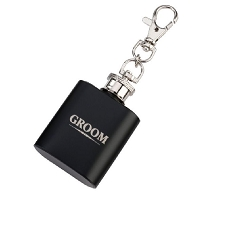 Lillian Rose Groom Black Mini Flask