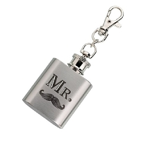 Lillian Rose Mr. Mustache Silver Mini Flask