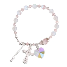 Lillian Rose Pink and Silver Rosary Bracelet