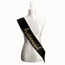 Lillian Rose Black and Gold Satin Bridesmaid Sash