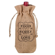 Lillian Rose Rustic Burlap Food and Family Wine Bag