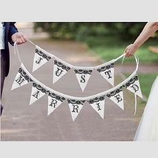 Lillian Rose Black and White Just Married Bunting Banner