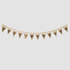Lillian Rose Just Married Rustic Burlap Banner