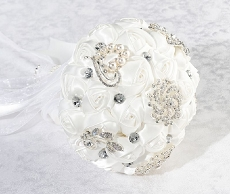 Lillian Rose White Crystal Flower Wedding Bouquet