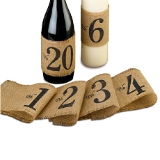 Lillian Rose Rustic Burlap Table Number Wraps 1-20
