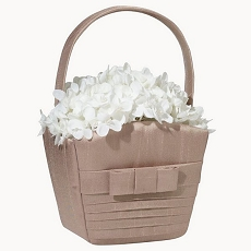 Taupe Pleated Silk Basket