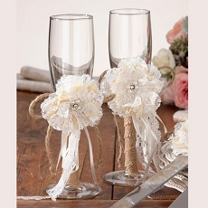 Burlap Toasting Glasses