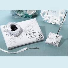 Lillian Rose Black and White I Thee Wed Guest Book and Pen Set