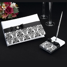 Lillian Rose Black Damask Guest Book and Pen Set