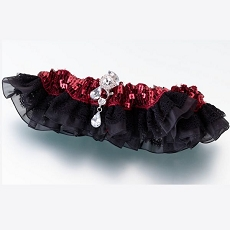 Sequin & Satin Garter - Red