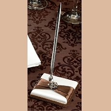 Lillian Rose Brown and White Satin Pen Set