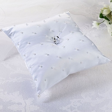 Lillian Rose White Scattered Pearl Ring Bearer Pillow