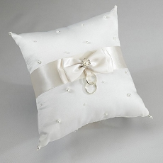 Lillian Rose Ivory Scattered Pearl Ring Bearer Pillow