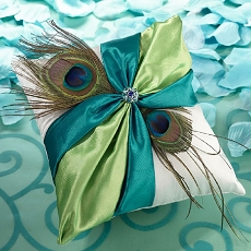 Lillian Rose Peacock Ring Bearer Pillow