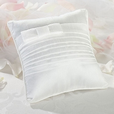 Lillian Rose White Pleated Silk Ring Bearer Pillow