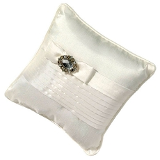 Lillian Rose White Pleated Ring Pillow with Rhinestones