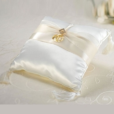 Lillian Rose Ivory Diamond Satin Ring Pillow