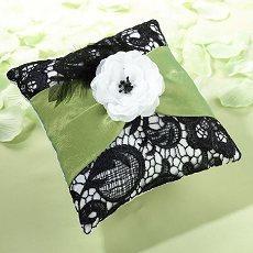 Lillian Rose Green and Black Ring Pillow