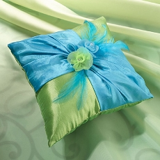 Lillian Rose Blue and Green Ring Pillow