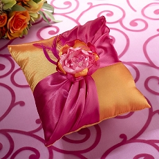 Lillian Rose Hot Pink and Orange Ring Pillow